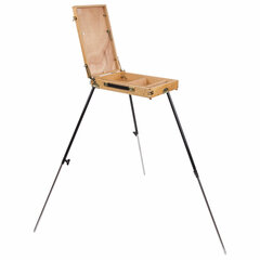 """Этюдник BRAUBERG ART """"CLASSIC"""", бук, 40х25х7,5 см, высота холста 70 см, ножки металлические 90 см, ремень, 190655"""