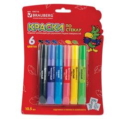 Краски по стеклу (витражные) BRAUBERG, 6 цветов по 10,5 мл, 4 шаблона, блистер