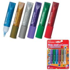 Гель-клей с блестками BRAUBERG, 6 цветов по 6 мл (золотистый, серебр., красный, синий, зеленый, фиолетовый), блистер