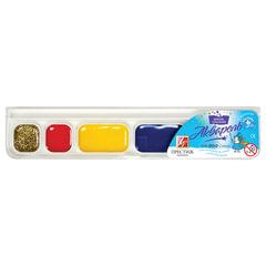 """Краски акварельные ЛУЧ """"Престиж"""", 6 цветов (5 цветов + 1 золотой), медовые, без кисти, пластиковая коробка"""