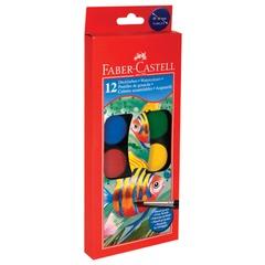 """Краски акварельные FABER-CASTELL """"Watercolours"""", 12 цветов, диаметр кювет 30 мм, с кистью, европодвес"""