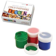 """Краски акриловые по стеклу и керамике """"Декола"""", 6 цветов по 20 мл, в баночках"""