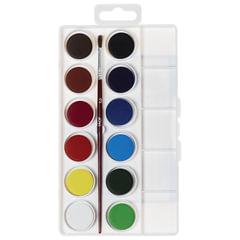 Краски акварельные JOVI (Испания), 12 цветов, с кистью, пластиковая коробка, европодвес
