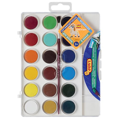 Краски акварельные JOVI (Испания), 18 цветов, с кистью, пластиковая коробка, европодвес