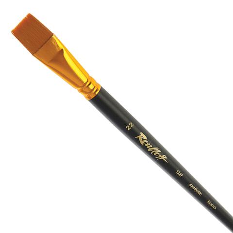 Кисть художественная ROUBLOFF (Рублев), синтетика, жесткая, плоская, № 22, длинная ручка