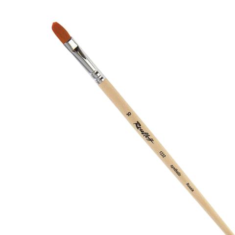 Кисть художественная ROUBLOFF (Рублев), синтетика, жесткая, овальная, № 10, длинная ручка