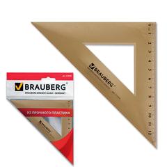 Треугольник пластиковый, угол 45, 16,5 см, BRAUBERG, тонированный, прозрачный, европодвес