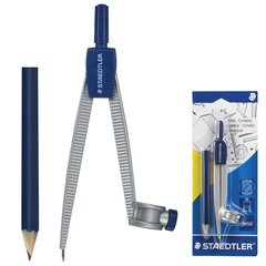 Циркуль STAEDTLER (Штедлер, Германия), 124 мм, металлический, карандаш в комплекте, блистер