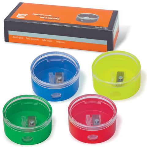 Точилка EISEN (АЙЗЕН, Германия), с контейнером, круглая, 4 цвета