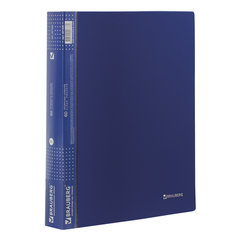 Папка 60 вкладышей BRAUBERG, фактура диагональ, темно-синяя, 0,9 мм, 221329