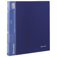 """Папка на 2 кольцах BRAUBERG """"Диагональ"""", 25 мм, темно-синяя, до 170 листов, 0,8 мм, 221343"""