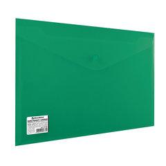 Папка-конверт с кнопкой BRAUBERG, А4, до 100 листов, непрозрачная, зеленая, СВЕРХПРОЧНАЯ 0,2 мм, 221363