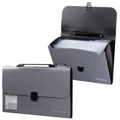 Портфель пластиковый BRAUBERG, А4, 327х254х30 мм, диагональная фактура, 13 отделений, пластиковый индекс, серебристый