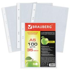 Папки-файлы МАЛОГО ФОРМАТА (148х210 мм), А5, ВЕРТИКАЛЬНЫЕ, КОМПЛЕКТ 100 шт., 35 мкм, BRAUBERG