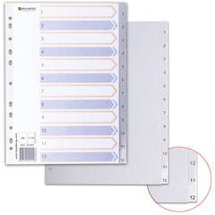 Разделитель пластиковый BRAUBERG, А4, 12 листов, цифровой 1-12, оглавление, серый, Китай, 221847