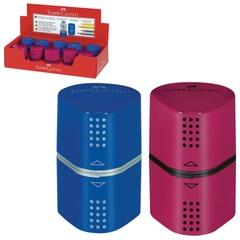 """Точилка FABER-CASTELL """"Trio Grip 2001"""", 3 отверстия, 2 контейнера, пластиковая, красная/синяя"""