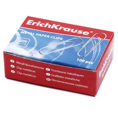 Скрепки ERICH KRAUSE, 28 мм, оцинкованные, 100 штук, в картонной коробке, 7855