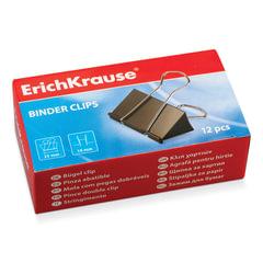 Зажимы для бумаг ERICH KRAUSE, КОМПЛЕКТ 12 шт., 25 мм, на 110 листов, черные, картонная коробка