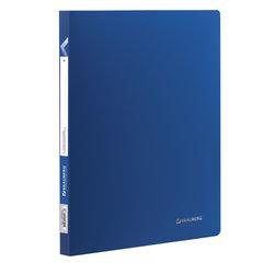 """Папка с пластиковым скоросшивателем BRAUBERG """"Office"""", синяя, до 100 листов, 0,5 мм, 222644"""