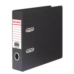 Папка-регистратор МАЛЫЙ ФОРМАТ (148х210 мм), А5, 70 мм, ВЕРТИКАЛЬНАЯ, двухстороннее покрытие, ПВХ, черная, BRAUBERG