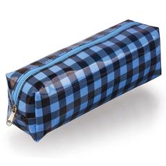 Пенал-косметичка BRAUBERG, пвх, голубой-черный, клетка, 20х6х5 см