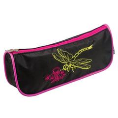 "Пенал-косметичка BRAUBERG, полиэстер, черно-розовый, ""Стрекоза"", вышивка, 21х4х8 см"