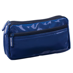 "Пенал-косметичка BRAUBERG, под глянцевую кожу, синий, 2 отделения, 1 карман, ""Милан"", 20х10х4 см"