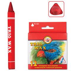 """Восковые мелки KOH-I-NOOR """"Trio Wax"""", 12 цветов, трехгранные, картонная упаковка с европодвесом"""