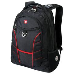 Рюкзак WENGER (Швейцария), черный, красные полосы, 30 литров, 35х20х47 см