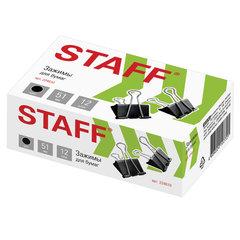 Зажимы для бумаг STAFF, КОМПЛЕКТ 12 шт., 51 мм, на 230 листов, черные, картонная коробка, 224610