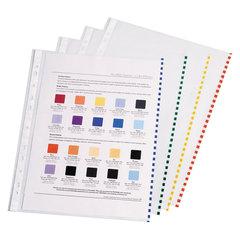 Папки-файлы перфорированные, A4, ERICH KRAUSE, комплект 100 шт., гладкие, с цветной полоской, 30 мкм, 30631