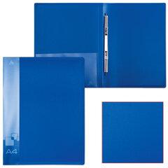 Папка с металлическим скоросшивателем и внутренним карманом БЮРОКРАТ, синяя, до 100 листов, 0,7 мм