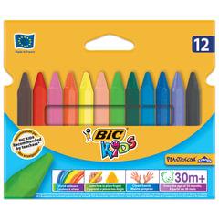"""Мелки пластиковые утолщенные BIC """"Plastidecor"""", 12 цветов, трехгранные, картонная упаковка, подвес"""