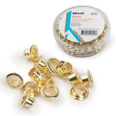 Люверсы омедненные KW-trio, комплект 250 шт., внутренний диаметр 4,8 мм, длина 4,6 мм, цвет золото
