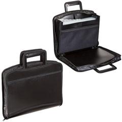 Портфель-папка пластиковая BRAUBERG А4+ (355х290х60 мм), выдвижные ручки, 8 отделений, 2 карманов, на молнии, черный, 225168