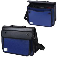 Портфель пластиковый BRAUBERG, А4+, 370х270х180 мм, на 2-х замках и ремне, бизнес-класс, 3 отделения, синий/черный
