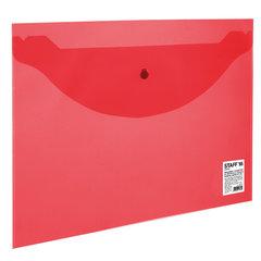 Папка-конверт с кнопкой STAFF, А4, до 100 листов, прозрачная, красная, 0,12 мм