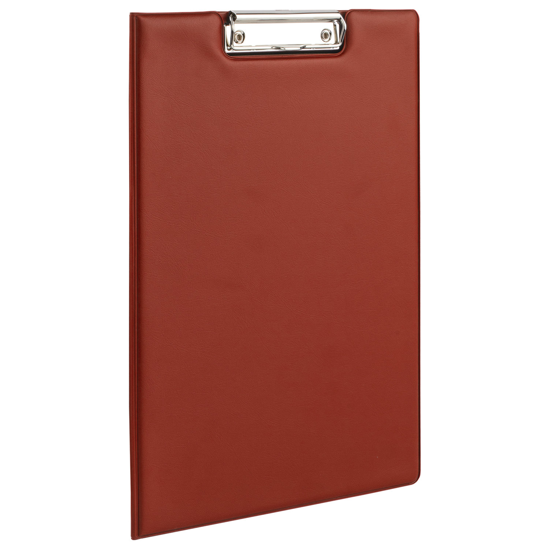 Папка-планшет BRAUBERG, А4 (340х240 мм), с прижимом и крышкой, картон/ПВХ, РОССИЯ, бордовая, 225687