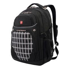 Рюкзак WENGER, универсальный, черный, рисунок клетка, 32 л, 33х20х47 см