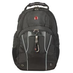 Рюкзак WENGER (Швейцария), универсальный, черный, серебристые вставки, 29 л, 34х18х47 см