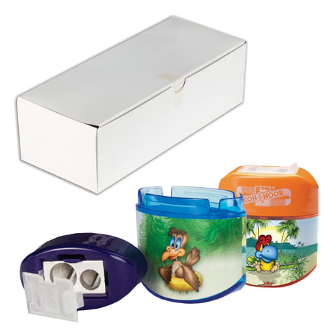 """Точилка KOH-I-NOOR """"Birds"""", 2 отверстия, пластиковая, с контейнером и крышкой, ассорти"""
