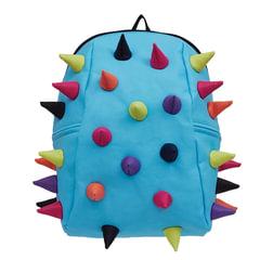 """Рюкзак MADPAX """"Rex 2 Half"""", универсальный, молодежный, 16 л, голубой, """"Цветные шипы"""", 36х31х15 см"""