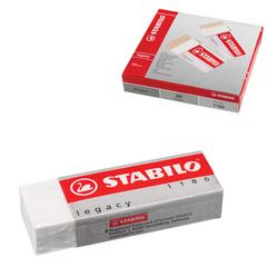 Резинка стирательная STABILO, прямоугольная, 62х22х11 мм, белая, в картонном держателе