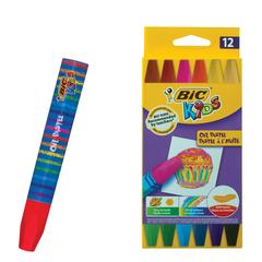 """Восковые мелки утолщенные BIC """"Kids"""", 12 цветов, на масляной основе, шестигранные, картонная упаковка"""