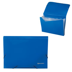 Папка на резинках BRAUBERG, А4, 13 отделений, пластиковые индексы, синяя, Россия