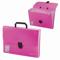 """Портфель пластиковый BRAUBERG """"Проект А4"""", 330х240х35 мм, 13 отделений, фактура стандарт, розовый, Россия"""
