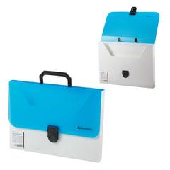"""Портфель пластиковый BRAUBERG """"Гранд А4"""", 330х240х30 мм, без отделений, белый/тонированный синий, Россия"""
