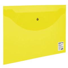 Папка-конверт с кнопкой STAFF, А4, до 100 листов, прозрачная, желтая, 0,12 мм