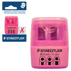Точилка STAEDTLER (Германия), 2 отверстия, с контейнером, пластиковая, розовая