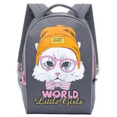 """Рюкзак GRIZZLY для учеников и учениц начальной школы, """"Котенок в шапке"""", 15 литров, 25х33х13 см"""